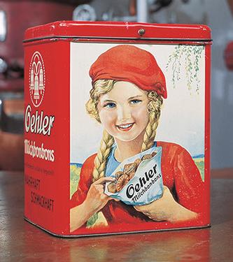 Bonbondose - Werbeartikel der 60er Jahre